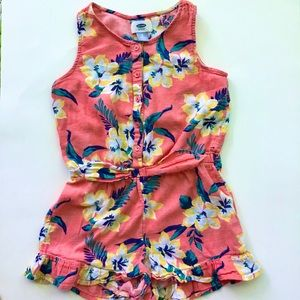 Girls Coral Floral Ruffles Romper - Old Navy